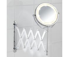 Wenko 3656380100 Specchio Cosmetico Telescopico da Parete con LED Brolo, Illuminato, Regolabile in Altezza, Orientabile, Acciaio, Vetro, 18,5 x 38,5 x 45 cm, Cromo
