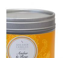 Shearer Candles - Candela profumata allambra e rosa in barattolo in acciaio INOX con decorazione primaverile, 4,7 x 6 cm, colore: Argento
