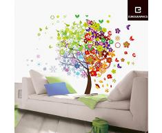 Eurographics, Adesivo decorativo da parete, motivo: Albero quattro stagioni, Multicolore (Bunt)