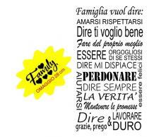 ADESIVI MURALI PER LA CASA (LARGE 120 X 60 CM.) colore a scelta WALL STICKERS REGOLE DELLA CASA STICKER FRASE AFORISMA ADESIVO MURALE