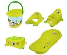 OKT Kids Funny Farm - Set di accessori da bagno per neonati: vasca per il bagnetto (misura XXL), vasino, riduttore per WC, sgabello e pattumiera per pannolini, colore: Verde erba