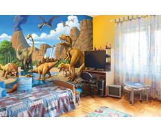 Dinosauro Fotomurale- Dino tappezzeria da parete- XXL dinosauro decorazione da parete -quadro cameretta dei bambini 336 cm x 238 cm