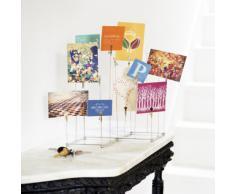 Umbra - Portafoto da tavolo in nichel con mollette, altezza variabile dai 22 ai 30 cm