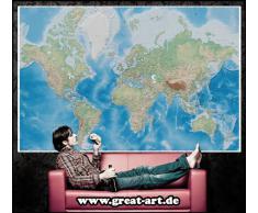 Mappa del mondo FOTOMURALE -rilievo mappa quadro- XXL mappe del mondo Miller projection-tappezzeria da parete /decorazione da parete 336 cm x 238 cm