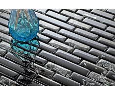 Mosaico piastrelle modello Scwarz rotto Crush effetto e in vetro trasparente (MT0074)