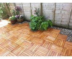 18 x in legno massiccio di Acacia Tiles. a incastro in legno per giardino, Patio, terrazza, Hot Tub. piano quadrato, 30 cm, motivo: Piastrelle
