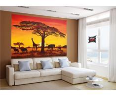 Great Art African Sunset/Tramonto in Africa FOTOMURALE - Africa Saf Ari Quadro - XXL tappezzeria da Parete/Decorazione da Parete murale by 210 x 140 cm