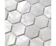 Piastrelle a mosaico in madreperla, effetto letto di fiume Nature-Cover con motivo a mosaico, colore: bianco