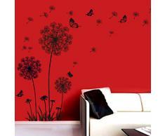 Malloom® Tarassaco Neri e Farfalle Che Volano Nel Vento Adesivi Murali, Camera da Letto Soggiorno Adesivi da Parete Removibili/Stickers Murali/Decorazione Murale