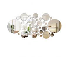 FOCCTS 36 Pz Decorazione per Parete - Adesivo da Parete a Specchio Fogli autoadesivi Cerchio Rotondo Specchi per la Decorazione Domestica con 6 Diverse Dimensioni