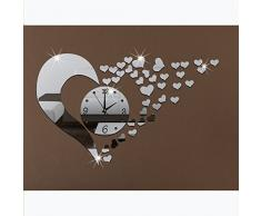 YEAH67886 3D Acrylic Mirror Wall Sticker Clock Decoration Decor for home