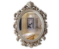 JYING Specchio da Parete Barocco Vintage,Specchiera da Parete Decorativo Oro/Argento Antico di Lusso per Camera da Letto,Corridoio,Soggiorno,Bagno,54x75 cm (21x30 Pollici)