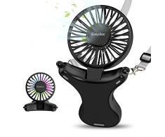 EasyAcc Ventilatore da Collo, 3350mAh Sospeso Ventilatori USB Personale Portatile Ricaricabile Mani Libere Ventilatore Pieghevole Corda 3 velocità 90 ° Rotante Luce Notturna per Viaggi Campeggio