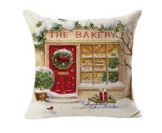 Tefamore, federa decorativa natalizia per cuscino, in lino, quadrata