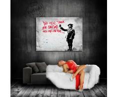 Quadro su tela Banksy Street Art Graffiti 100 x 70 cm - tela montata su telaio - Stampe artistiche, tela foto, immagini, Poster, dipinto, Pop Art decorazione Arte immagini da parete
