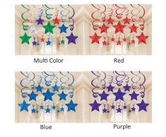 Amscan - Stelle filanti decorative per feste, colore: Rosso