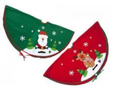 Fodera decorativa per base albero di Natale, decorazioni con Babbo Natale e renna, colore: verde/rosso