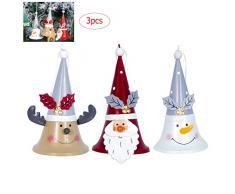 Campanella di Babbo Natale per albero di Natale Babbo Natale bambola appendere campane decorazione