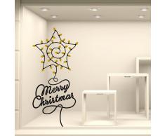 """Adesivi Murali Vetrofania natalizia """"Stella di lampadine"""" - Misure 55x120 cm - Vetrine negozi per Natale, stickers, adesivi"""