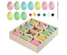 Uova di Pasqua Plastica Colorata Artigianato Pittura DIY Egg Falso Uovo per Bambini Dono Giocattolo Pasqua Festa Decorazione a Casa Uova da Appendere