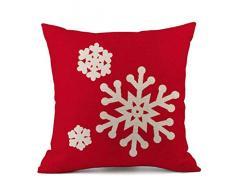 Federa di Natale, Scpink Babbo Natale e Fiocchi di Neve Buon Natale Divano in Lino per Auto Decori Cuscino Quadrato 18x18 (D)
