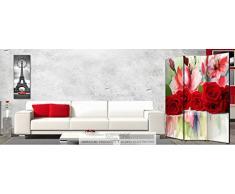 Lupia Separè bifacciale artistico Divisorio Telaio 3 Ante con Stampa su Tela Brooklin, Legno, Multicolore, 176x3.2x135.6 cm