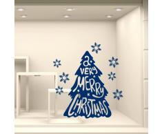 NT0336 Adesivi Murali - Alberello con neve - Vetrofanie natalizie - Misure 80x120 cm - rosso - Vetrine negozi per Natale, stickers, adesivi