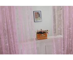 Tenda Tulle Motivo Farfalla Floccato Decorazioni Interni Finestre Letto, Misura 100*200cm - Rosa