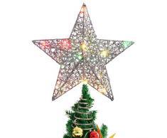 STOBOK - Puntale per Albero di Natale a Forma di Stella Glitterata, 25 x 30 cm, Colore: Argento