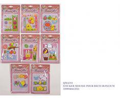 Idea Pasqua: set 4 sticker decorazione pasquale o cameretta bimbi; cm 20,5*13; decori assortiti
