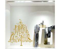 wall art NT0187 Albero scintillante - 70x75 cm - oro - Vetrofanie natalizie Decorazioni per Natale adesivi natale