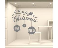 kina NT0326 Vetrofania Natalizia per vetrine Negozi - Decorazioni adesive per Natale 75x60 cm - Argento