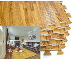 8 x 61 cm, motivo: quadrati che si intersecano confortevole in schiuma EVA piastrelle pavimento, in legno di quercia con finitura in legno, ca. 32 cm