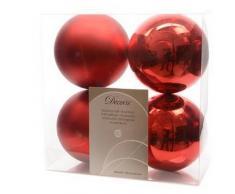 Decoris, 22167, Palline natalizie, infrangibili, miste lucide e opache, Rosso (Rot)
