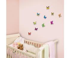 Walplus - Adesivi da parete, sticker murali con farfalle in 3D colorate