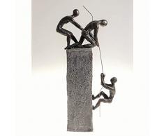 """Scultura """"Assistenza"""", di Poly, grigio antico Base con bronzo Statue, H 43cm, B 18cm"""