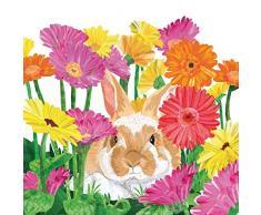 Tovaglioli (2 Set / 40 pezzi) 3 strati 33 x 33 cm Primavera Pasqua Coniglietto pasquale Gerbera