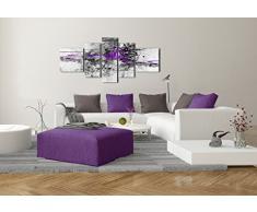 DekoArte 24 - Quadro moderno astratto, tela a 5 pezzi, 180 x 85 cm, colore viola scuro