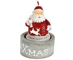 Set 12 Candele a Forma di Babbo Natale tealights Segnaposto Bomboniera per cenone Capodanno, Feste, Christmas, Decorazione Regalo 5 x 7,5cm assortite in 3 soggetti con vasetto Ceramica