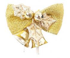 EOZY-Set 6pcs Fiocco Decorativo a Campanella da Natale Albero Casa Oro