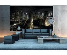 Great Art New York FOTOMURALE -Manhattan di Notte Quadro - HDR HD New York Decorazione da Parete/tappezzeria da Parete by (140 x 100 cm)