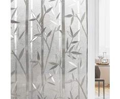 rabbitgoo Pellicola per Finestre Vetri 3D bambù Decorativa Autoadesive Anti-UV Controllo di Calore Pellicola Privacy 60x200CM