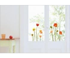 Adesivi elettrostatici, senza colla, per finestre, vetri e specchi, visibili sui 2 lati, motivo: papaveri