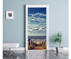 Strada per la spiaggia in riva al mare come Murale, Formato: 200x90cm, telaio della porta, adesivi porta, porta decorazione, autoadesivi del portello