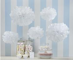 Ginger Ray Tissue Libro bianco Pom Pom 5 pacchetto Matrimonio, Natale e decorazioni del partito - Lace Vintage