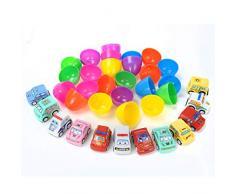 Uova Pasqua Iseebiz 12pcs Uova Giocattolo in Plastica Riempite con Mini Veicoli Colorate,per Festeggiare Le Feste o Un Compleanno,per i Bambini