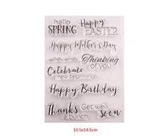 PINH-lang DIY Silicone Trasparente Timbro, Buon Compleanno Pasqua Timbro per Scrapbooking Album Foto Cartoline Fai da Te Segno Natale Thanksgiving Regali