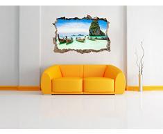 piccole barche sul svolta parete mare in look 3D, parete o in formato adesivo porta: 92x62cm, autoadesivi della parete, autoadesivo della parete, decorazione della parete