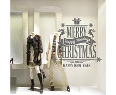 """NT0345 Adesivi Murali """"Auguri renne e pacchetto"""" Vetrofanie natalizie - Misure 120x120 cm - argento - Vetrine negozi per Natale, stickers, adesivi"""