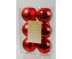 Decoris, 22052, Palline natalizie, infrangibili, miste lucide e opache, Rosso (Rot)